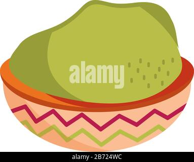 cinco de mayo guacamole in bowl food vector illustration - Stock Photo
