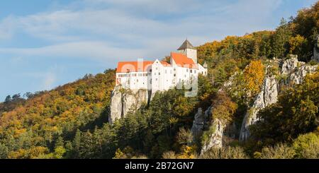 Scenic panorama view of Prunn Castle. The history of the castle reaches back to the year 1037, when the lords of Prunn were first mentioned. - Stock Photo
