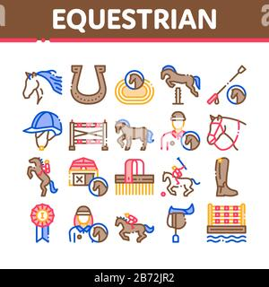 Equestrian Animal Collection Icons Set Vector - Stock Photo