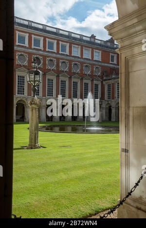The Fountain Court at Hampton Court Palace - designed by Sir Christopher Wren in the Baroque style - Stock Photo