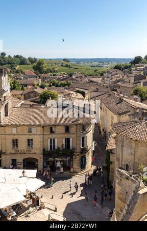 St Emilion; France - September 8; 2018: Place de lEglise Monolithe in St Emilion; Gironde Department; France. St Emilion is French village famous for - Stock Photo