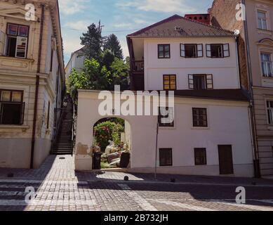 Old houses in Mesnička street - Stock Photo