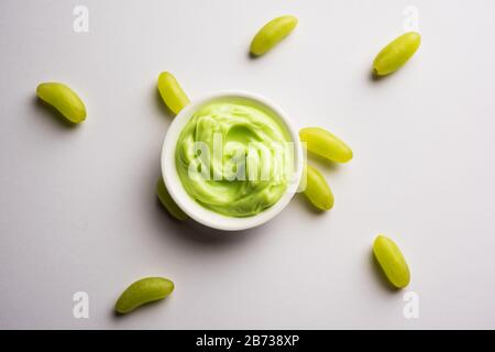 Green grapes, yogurt and honey mix face mask or cream for skin dark spot removal treatment, created using Angoor extract, curd and honey. selective fo