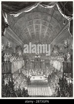 The wedding of William IV, Prince of Orange, with Anne, Princess Royal of England in the Chapel Royal of St James's Palace, London, March 25th 1734, 18th Century illustration by Jacques Rigaud, after William Kent, 1734