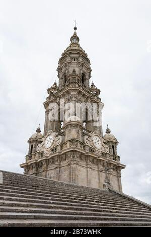 The Torre da Berenguela clock tower from the rooftop of the Cathedral of Santiago de Compostela in Galicia, Spain. The city is the terminus of the Way