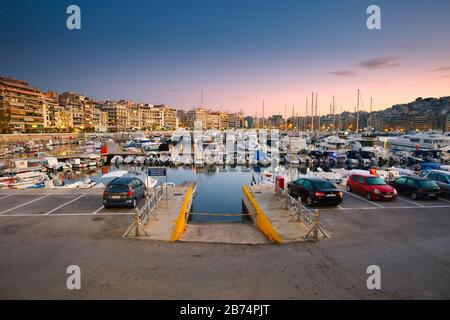 Fishing boats and yachts in Zea Marina in Athens, Greece - Stock Photo