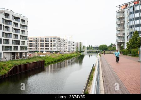 10.06.2019, Berlin, Germany, Europe - New apartments in Europacity on the banks of the shipping canal in Berlin-Moabit. [automated translation]