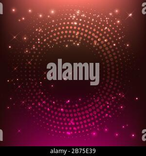 Virtual abstract background with particle, molecule structure. Glowing Pink Lines - Vector Background.