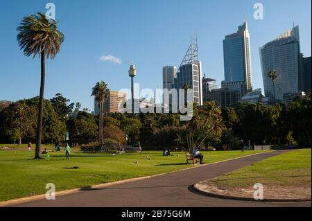 11.05.2018, Sydney, New South Wales, Australia - A view from the Botanical Gardens to the skyline of the Sydney business district. [automated translation]