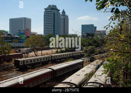 26.01.2017, Yangon, Yangon Region, Republic of the Union of Myanmar, Asia - A view of buildings and the railway station in the city center of Yangon. [automated translation] - Stock Photo