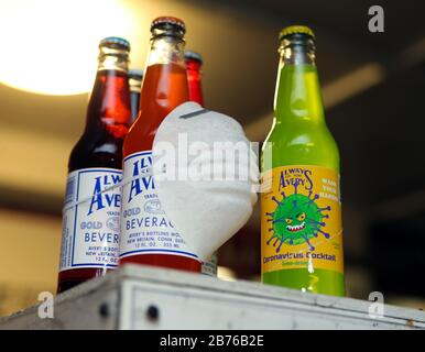 March 13, 2020, New Britain, CT, USA: Avery Beverges has been in business since 1904, and makes soda in more than 35 flavors. Their latest flavor is Coronavirus Cocktail. They also produce a line of Totally Gross Sodas like Bug Barf, Toxic Slime, Monster Mucus and Zombie Brain Juice. Avery also makes limited edition sodas relating to things in the news, such as So Long Osama, Deflated Ball Brew relating to the National Football League, and more recently Peach-Mint Soda featuring Donald Trump on the label. Credit: ZUMA Press, Inc./Alamy Live News - Stock Photo