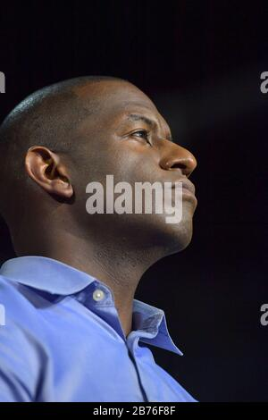 MIAMI BEACH, FL - NOVEMBER 02: Democratic Florida Gubernatorial Candidate Andrew Gillum Campaigns with United States Senator Bill Nelson and Former US President Barack Obama at the Overtown Ice Palace Film Studios on November 2, 2018 in Miami, Florida  People:  Andrew Gillum