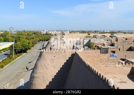 View from up the Wall of the Bukhara Fortress (Ark), in Uzbekistan. The Ark of Bukhara is a massive fortress located in Central Asia with a huge wall. - Stock Photo