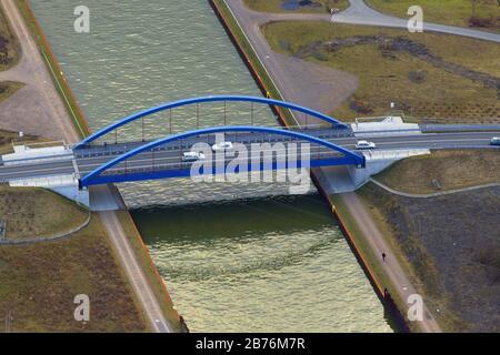 , new Tibaum Bridge over Datteln hamm chanel in Herringen, 06.03.2012, aerial view, Germany, North Rhine-Westphalia, Ruhr Area, Hamm
