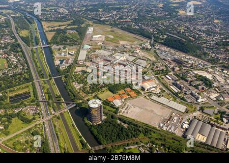 shopping centre CentrO in Oberhausen and Gasometer, 24.07.2012, aerial view, Germany, North Rhine-Westphalia, Ruhr Area, Oberhausen - Stock Photo