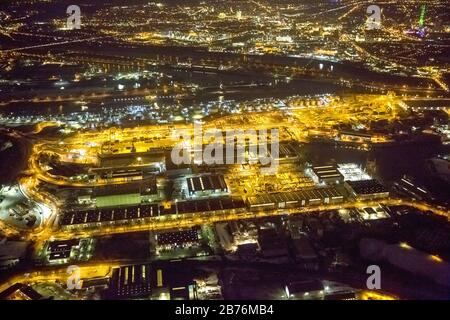 , area of the Ruhr Duisport harbor at night, 13.12.2011, aerial view, Germany, North Rhine-Westphalia, Ruhr Area, Duisburg - Stock Photo