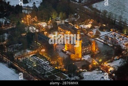 , water palace Moyland at night with Christmas market, 13.12.2012, aerial view, Germany, North Rhine-Westphalia, Lower Rhine, Bedburg-Hau Stock Photo