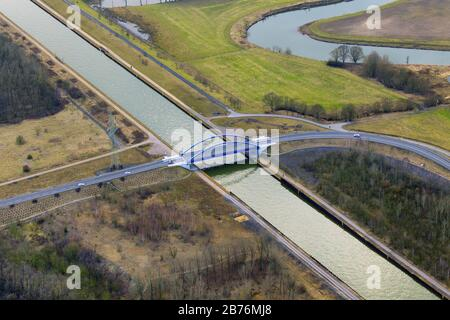 , new Tibaum Bridge over Datteln hamm chanel in Herringen, 06.03.2012, aerial view, Germany, North Rhine-Westphalia, Ruhr Area, Hamm Stock Photo