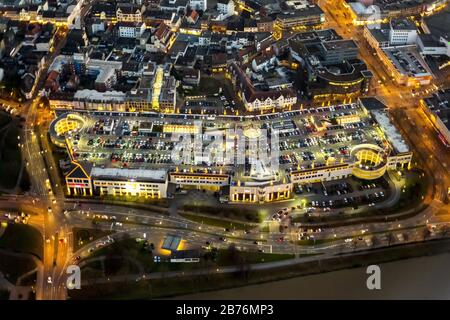 , Night view of the grounds of the Allee Center ECE in the city center of Hamm, 14.12.2014, aerial view, Germany, North Rhine-Westphalia, Ruhr Area, Hamm - Stock Photo
