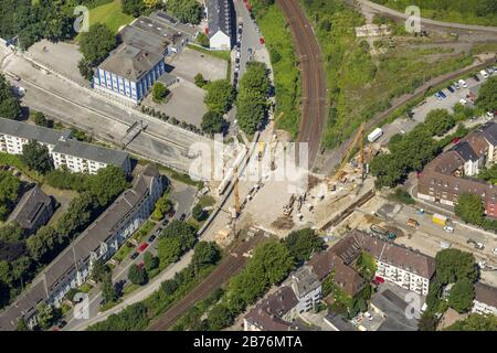 , construction site and demolition of the bridge Stadtwaldbruecke over big motorway A40 in Essen, 23.07.2012, aerial view, Germany, North Rhine-Westph - Stock Photo