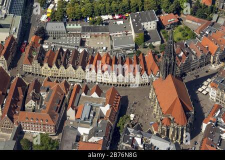 city of Munster with church St Lamberti at Prinzipalmarkt, 25.07.2012, aerial view, Germany, North Rhine-Westphalia, Munster - Stock Photo