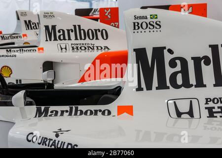 Close up detail of a McLaren Honda MP4/7 in the Honda Collection Hall in Suzuka, Japan, with an MP4-5 in the background. - Stock Photo