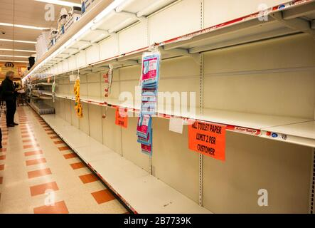 West Boylston, USA. 13th Mar, 2020. Mar 13, 2020; Leominster, MA, USA; Toilet paper was completely sold out by late morning at Market Basket on Friday, March 13, 2020. Mandatory Credit: Ashley Green/Worcester Telegram & Gazette via USA TODAY NETWORK/Sipa USA Credit: Sipa USA/Alamy Live News - Stock Photo