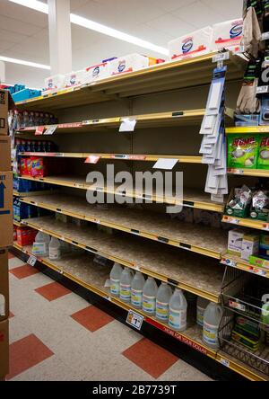 West Boylston, USA. 13th Mar, 2020. Mar 13, 2020; Leominster, MA, USA; Jugs of bleach and hand wipes were completely sold out as shoppers packed into Market Basket in Leominster to stock up on groceries late in the morning on Friday, March 13, 2020. Mandatory Credit: Ashley Green/Worcester Telegram & Gazette via USA TODAY NETWORK/Sipa USA Credit: Sipa USA/Alamy Live News - Stock Photo