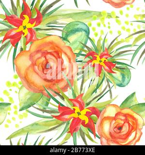 seamless pattern of watercolor tropical plants with blooming flowers dots and foliage on white background
