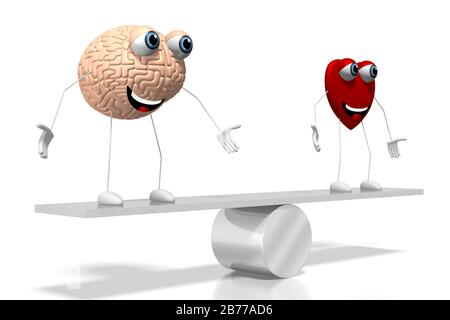 3D heart and brain cartoon characters, swing concept - great for topics like emotions etc. - Stock Photo
