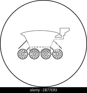 Moon rover Mars explorer Space machine Planets vehicle icon in circle round outline black color vector illustration flat style simple image - Stock Photo