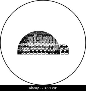 Igloo dwelling with icy cubes blocks Place when live inuits and eskimos Arctic home Dome shape icon in circle round outline black color vector - Stock Photo