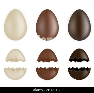 set of whole and broken chocolate eggs - Stock Photo
