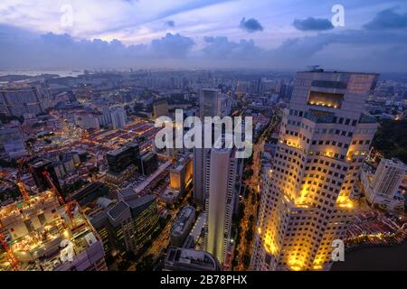 high angle view of singapore financial buildings at morning