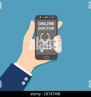 Hand holding smartphone with online doctor app on screen. Healthcare mobile service concept. Vector illustration in flat style - Stock Photo