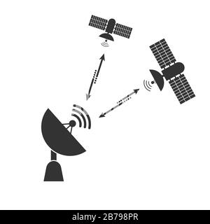 satellite dish communicates with a signal from a space satellite. Simple flat design. - Stock Photo