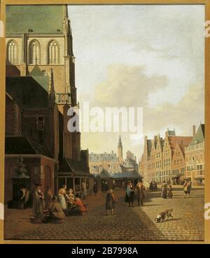 Gerrit Berckheyde - The Fish Market in Haarlem looking towards the Town Hall. - Stock Photo