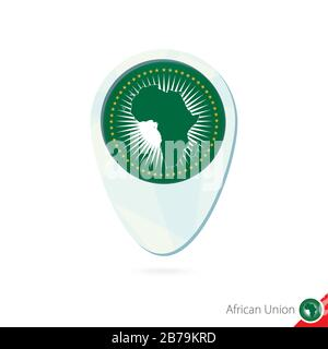 African Union flag location map pin icon on white background. Vector Illustration. - Stock Photo