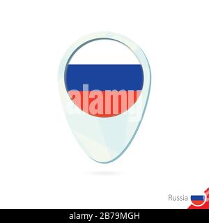 Russia flag location map pin icon on white background. Vector Illustration. - Stock Photo
