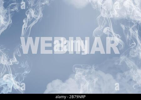 Webinar word written in the sky in classic blue. Elearning online learning concept - Stock Photo