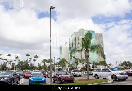 February 20, 2020- Orlando, Florida: A DoubleTree Hotel by Hilton exterior and parking lot in Orlando near Major Blvd - Stock Photo