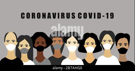 People wearing medical masks to prevent Covid-19.People face in respiratory protective mask and coronavirus cell disease. Dangerous cases of flu.