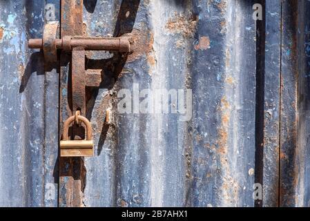 Blue door close-up detail, exterior. Essaouira, Morocco - Stock Photo