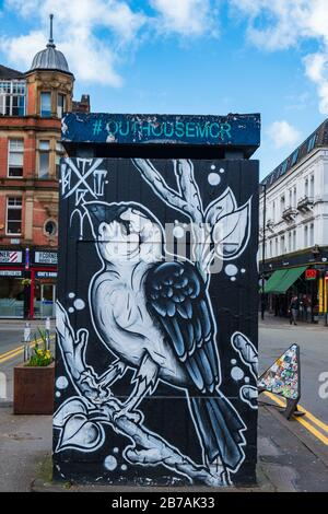 Manchester, United Kingdom - March 1, 2020: View of OUT HOUSE, a new outdoor space for public street art in Stevenson Square in the Northern Quarter o - Stock Photo