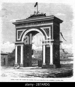 Gijón, arco de carbón de piedra por las compañías de Langreo y Santa Ana, en El Museo Universal. - Stock Photo
