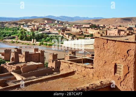 Kasbah Ait Ben Haddou in the Atlas Mountains of Morocco - Stock Photo