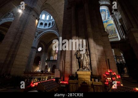 Basilique du Sacre Coeur aka Basilica of the Sacred Heart of Paris in Paris, France, Europe - Stock Photo