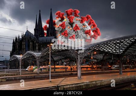 Corona cases in the population are increasing in North Rhine-Westphalia - in the picture the Cologne main station with cathedral (using a graphic from the CDC released under public domain).