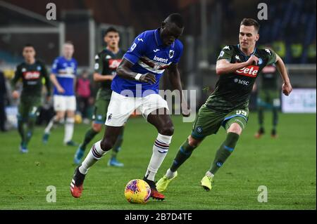 omar colley (sampdoria) ,  arcadiusz milik (napoli) during Sampdoria Italian Soccer serie A Season 2019/20, Genova, Italy, 14 Mar 2020, Soccer italian - Stock Photo