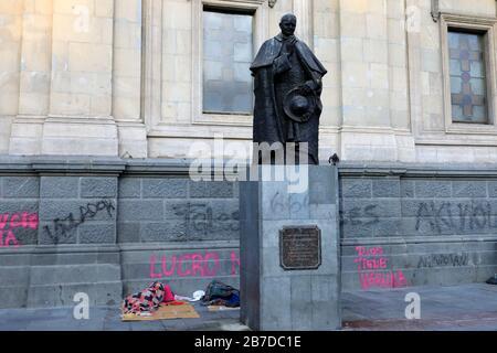 Graffiti on the Statue of Cardinal Jose Maria Caro Rodriguez, Santiago Metropolitan Cathedral, Plaza de Armas square, Region Metropolitana, Santiago C - Stock Photo